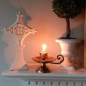 Vintage brass candle holder boho style accent